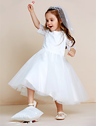 A-line Tea-length Flower Girl Dress - Lace Tulle Jewel with Lace