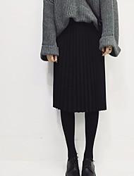 Femme Taille Normale Genou Jupes,Trompette/Sirène Couleur Pleine