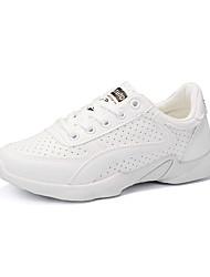 Feminino Tênis Conforto botas de desleixo Tule Couro Ecológico Primavera Verão Atlético Casual Corrida Conforto botas de desleixo Cadarço