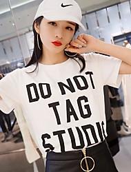 Tee-shirt Femme,Couleur Pleine Lettre Décontracté / Quotidien simple Printemps Eté Manches Courtes Col Arrondi Coton Moyen