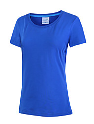 Damen Solide Einfach Ausgehen Lässig/Alltäglich T-shirt,Rundhalsausschnitt Sommer Kurzarm Baumwolle Dünn