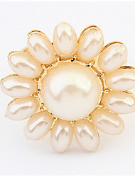 Euramerican Delicat Luxury Women's Elegant Sunflower Pearl Ring Gift Jewelry