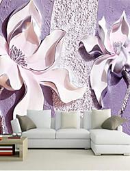 Floral 3D Fondo de pantalla Para el hogar Contemporáneo Revestimiento de pared , Lienzo Material adhesiva requerida Mural , Revestimiento