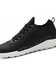 Men's Athletic Shoes Comfort Synthetic Spring Fall Casual Walking Comfort Split Joint Flat Heel White Black Black/White 2in-2 3/4in