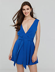 Women's Backless Going out / Casual/Daily / Formal Sexy Swing Dress Blue / Pink / Red / Black PolyesterAll
