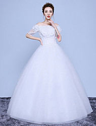 A-line Wedding Dress Floor-length Off-the-shoulder Cotton Lace Tulle with Appliques Lace Sequin
