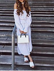 Tee-shirt Femme,Rayé Décontracté / Quotidien simple Printemps Manches Longues Epaules Dénudées Rayonne Opaque