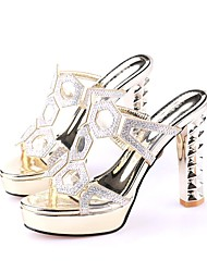 Women's Sandals Summer Club Shoes Leatherette Casual Chunky Heel Rhinestone Silver Gold