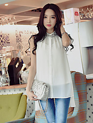 DABUWAWA Women's Going out Casual/Daily Party Sexy Street chic Sophisticated White BlouseSolid Stand Sleeveless Translucent Medium