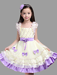 Ball Gown Knee-length Flower Girl Dress - Cotton Organza Satin Square with Bow(s) Flower(s) Pearl Detailing Sash / Ribbon