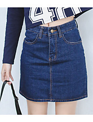 Women's Mid Rise Mini Skirts Bodycon Denim Solid