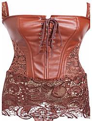Women Overbust Corset Patent Leather Zip