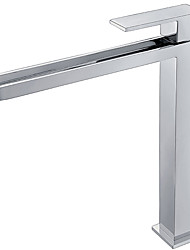 Modern Style Tall Waterfall Bathroom Basin Sink Faucet Single Handle Single Hole Chrome Finish