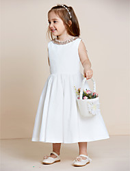 A-line Tea-length Flower Girl Dress - Cotton Jewel with Draping Ruffles