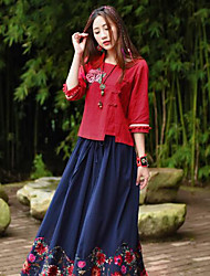 Damen Druck Retro Ausgehen T-shirt,Rundhalsausschnitt ½ Länge Ärmel Polyester