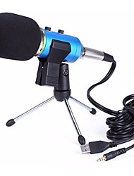 MK-F200FL Audio Sound Recording Condenser Microphone With Shock Mount Holder Clip  3.5mm Audio USB Dual Cable Micphone