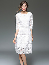 SUOQI Fashion Wild Round Neck 3/4 Long Sleeves Solid Color Slim Hollow Lace Long Skirt Daily Leisure Dating Home Cocktail Party OL Dress