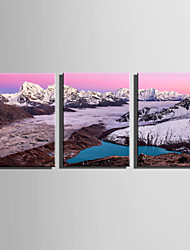 E-HOME Stretched Canvas Art  Pink Clouds On The Mountain Decoration Painting Set Of 3