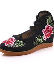 Femme-Extérieure Bureau & Travail Habillé Décontracté Sport--Talon Compensé-Confort Nouveauté Chaussures brodées-Oxfords-Toile