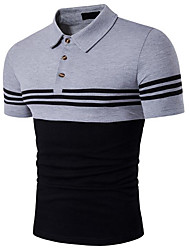 Hombre Simple Casual/Diario Verano Camiseta,Cuello Camisero A Rayas Manga Corta Algodón Opaco