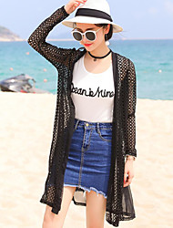 Women's Going out Casual/Daily Beach Sexy Simple Cute Spring Summer Jacket,Solid Peter Pan Collar Long Others