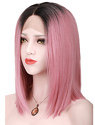 Women Synthetic Lace Front Wigs Black Ombre Pink Straight Bob High Temperature Short Hairstyles Natural Wig For Women