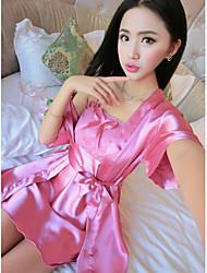 Women Gartered Lingerie Nightwear,Sexy Solid-Medium Others Pink Women's
