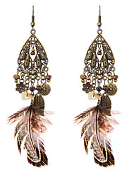 lureme® Drop Earrings Jewelry Tassel Natural Friendship Sexy Punk Luxury Statement Jewelry Feather Geometric Wings / Feather Jewelry For