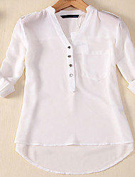 Women's Casual/Daily Plus Size Simple Fall Blouse,Solid V Neck Long Sleeves Cotton Thin