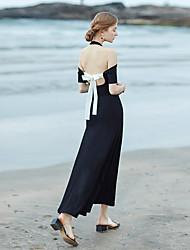 Feminino balanço Vestido,Para Noite Praia Festa/Coquetel Sensual Simples Sólido Decote Redondo Longo Manga Curta Algodão VerãoCintura
