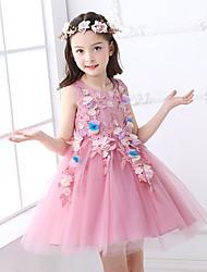 vestido corto de la bola / mini vestido de la muchacha de flor - cuello sin mangas de la joya de Tul con applique by ydn