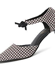Women's Heels Comfort PU Summer Outdoor Walking Comfort Lace-up Low Heel Black Blue Khaki 1in-1 3/4in