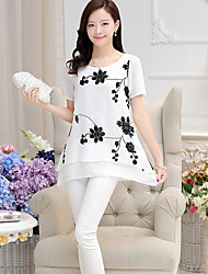 Women's Casual/Daily Simple Blouse,Print Round Neck Short Sleeve Others