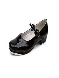 """Women's Tap Patent Leather Heels Indoor Bow(s) Low Heel Black 1"""" - 1 3/4"""""""