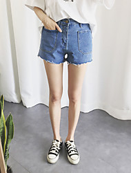 Women's High Rise Inelastic Jeans Shorts Pants,Cute Simple Wide Leg Solid
