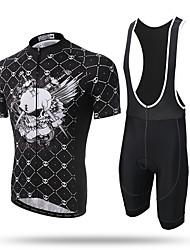 XINTOWN Maillot et Cuissard à Bretelles de Cyclisme Homme Manches Courtes Vélo Collant à Bretelles/Corsaire Bretelles Maillot Hauts/Tops