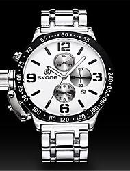 SKONE Masculino Relógio Esportivo Relógio de Moda Chinês Quartzo Silicone Banda Prata