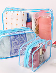 1pc Toiletry Bag Waterproof Dust Proof Foldable for Unisex Travel Storage Toiletries PU Leather PVC-Yellow Fuchsia Blue