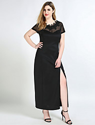 Really Love Women's Plus Size Casual/Daily Party Sexy Vintage Street chic Shift Sheath Lace Dress,Solid Round Neck Maxi Short SleeveCotton Polyester