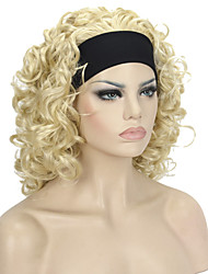 Short Super Curly Blonde Synthetic HEADBAND Wig