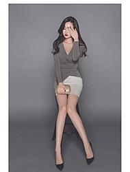 Tee-shirt Femme,Couleur Pleine Sortie Sexy Manches Longues Col en V Spandex