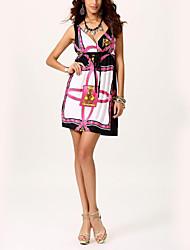 Для женщин Вечеринка/коктейль Для клуба Праздник Секси Уличный стиль Изысканный Оболочка Платье С принтом,Глубокий V-образный вырезВыше