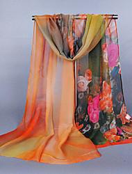 Womens Fashion Georgette Silk  Floral Print Scarfs 160*50CM