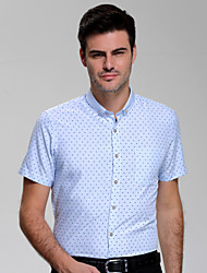 Men's Plus Size Formal Work Simple Summer Shirt,Geometric Shirt Collar Short Sleeve Cotton Rayon Medium