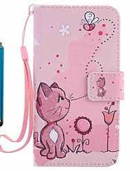 For Case Cover Card Holder Wallet with Stand Flip Pattern Full Body Case With Stylus Cat Hard PU Leather for Apple iPhone 7 Plus 7 6s Plus 6s 5s se