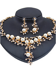 Jewelry Set Imitation Pearl Euramerican Fashion Classic Imitation Pearl Rhinestone Zinc Alloy Flower Gold 1 Necklace 1 Pair of Earrings