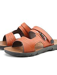 Men's Sandals Summer Light Soles PU Casual Walking Button Dark Blue Light Brown