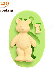 Cake Tools Parasol Teddy Bear Silicone Fondant Mold for Cake Decorating Chocolate Cupcake Candy Clay Making Colour Random