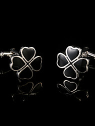 Four Leaf Clovers Flower Cuff links Male French Shirt Cufflinks for Mens Jewelry Man Acc Gift Black Cuffs Buttons