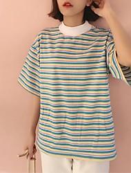 Damen Gestreift Einfach Lässig/Alltäglich T-shirt,Rundhalsausschnitt ½ Länge Ärmel Baumwolle